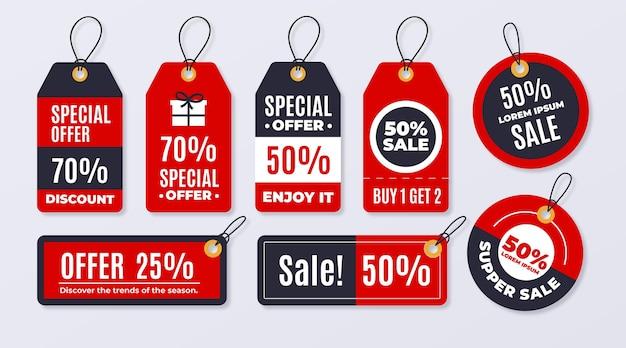 Verkooplabelpakket in plat ontwerp