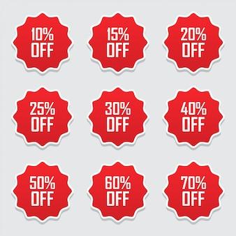 Verkoopmarkeringen of etiketten die met percenten het vlakke pictogram van de verkoopkortingsbevordering worden geplaatst