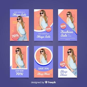 Verkoopsinstagramverhalen van de mode