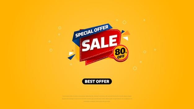 Verkoopsjabloon voor spandoekontwerp met geometrische achtergrond, speciale aanbieding voor grote verkoop tot 80% korting. super sale, banner met speciale aanbieding aan het einde van het seizoen. vectorillustratie. Premium Vector