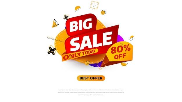 Verkoopsjabloon voor spandoekontwerp met geometrische achtergrond, speciale aanbieding voor grote verkoop tot 80% korting. super sale, banner met speciale aanbieding aan het einde van het seizoen. vectorillustratie.