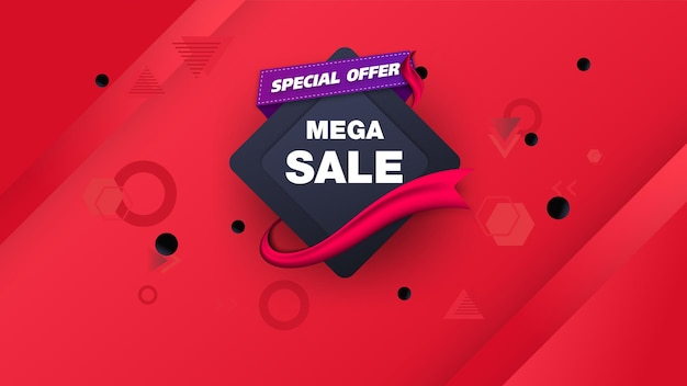 Verkoopsjabloon voor spandoekontwerp met geometrische, speciale aanbieding voor grote verkoop. super sale, banner met speciale aanbieding aan het einde van het seizoen.
