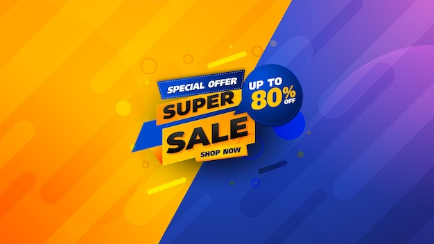 Verkoopsjabloon voor spandoekontwerp met komische achtergrond, speciale speciale verkoop tot 80% korting. super sale, banner met speciale aanbieding aan het einde van het seizoen. vectorillustratie. mega-uitverkoop