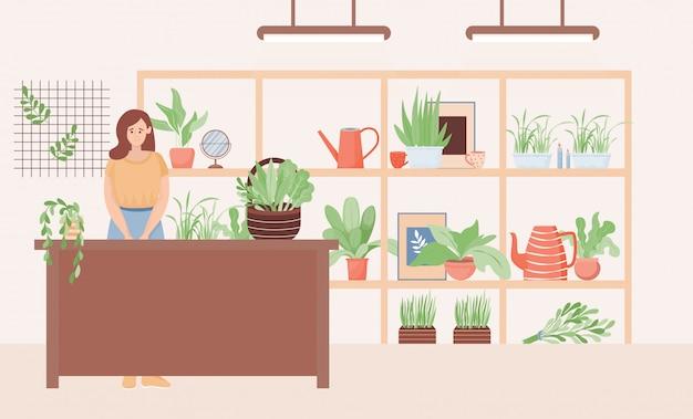 Verkoopster die zich in de illustratie van de bloemenwinkel bevindt. vrouw verkoop natuurlijke decoratieve kamerplanten.