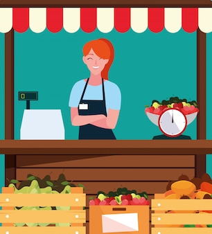Verkoopster met kraam kiosk gevel van winkel fruit
