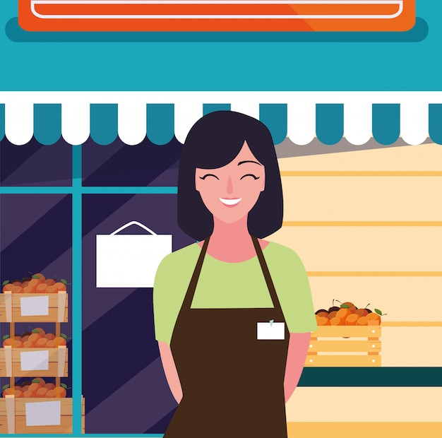 Verkoopster met vers fruit winkel gevel gevel