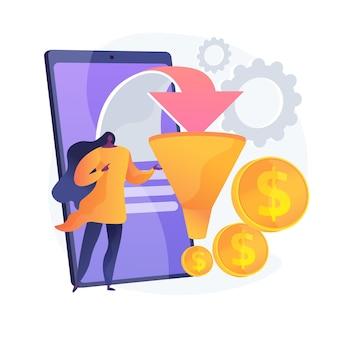 Verkoopstrategie voor trechter. verdienen van winst. doelgroep, leadgeneratie. conversiemarketing. marketoloog stripfiguur. online business. vector geïsoleerde concept metafoor illustratie