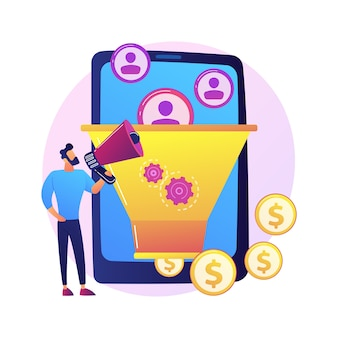 Verkoopstrategie voor trechter. verdienen van winst. doelgroep, leadgeneratie. conversiemarketing. marketoloog stripfiguur. online business.