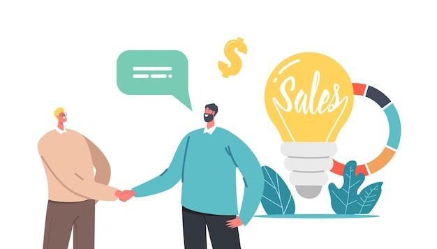 Verkoopstrategieën concept. kleine zakenliedenkarakters die handen schudden bij enorme gloeilamp en cirkeldiagram met bedrijfsstatistieken of bedrijfsanalyses. cartoon mensen vectorillustratie