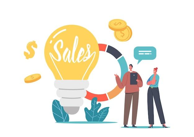 Verkoopstrategieën en business idea concept met kleine zakenman en zakenvrouw tekens bij enorme gloeilamp en cirkeldiagram met statistieken analytics-informatie. cartoon mensen vectorillustratie