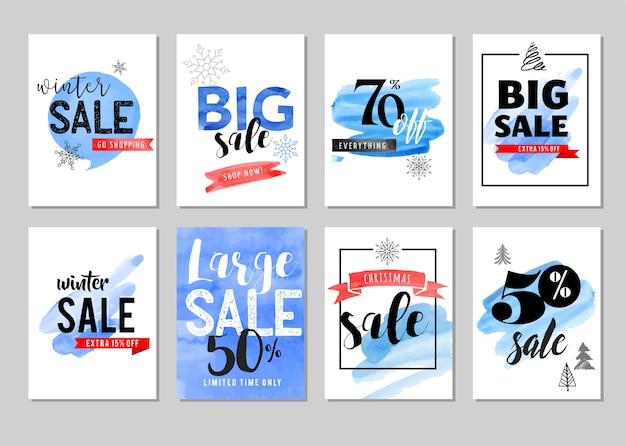 Verkooptags, labels. kerst verkoop kleurrijke aquarel
