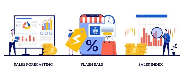 Verkoopvoorspelling en index, flash-verkoop, speciale aanbieding-concept met kleine mensen
