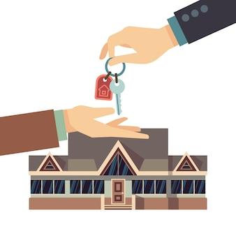 Verkopend en kopend huis onroerende goederen bedrijfsconcept met handen en huissleutel.