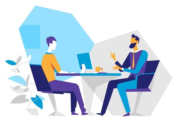 Verkoper en klant op kantoor, sollicitatiegesprek,