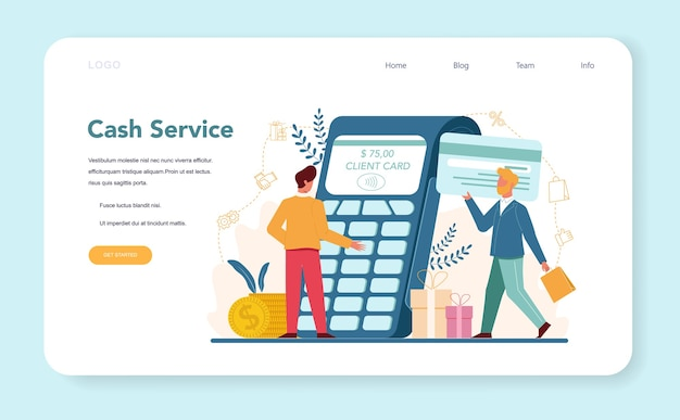 Verkoper kasboekhouding en berekeningen webbanner of bestemmingspagina