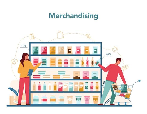 Verkoper merchandising concept