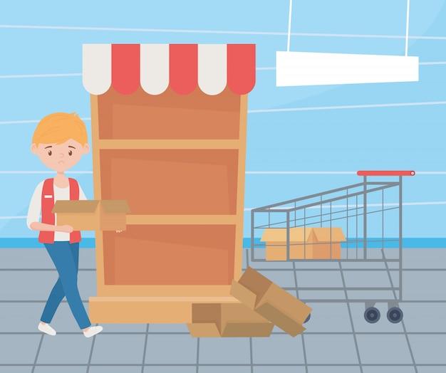 Verkoper met lege winkelwagen en doos, uitverkochte schap supermarkt, overtollige aankoop