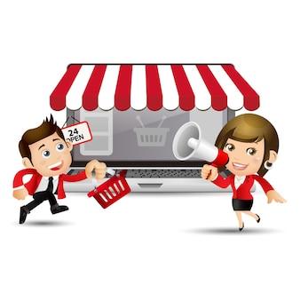 Verkoper om online te winkelen