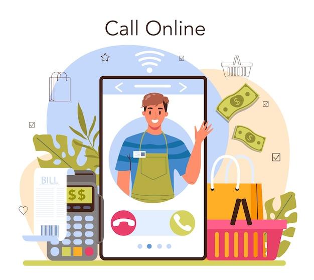Verkoper online service of platform. professionele werknemer in de supermarkt, winkel, winkel. klantenservice, betalingsverkeer. online bellen. platte vectorillustratie