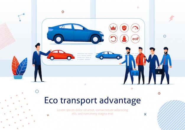 Verkoper presentatie aan cartoon people elektrische auto voordeel