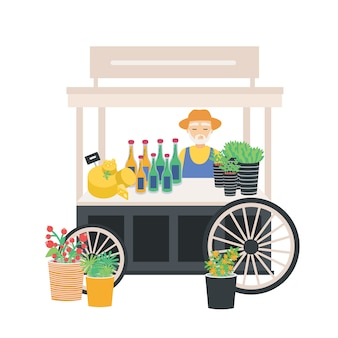 Verkoper staat bij kar, balie, kraam of kiosk op wielen met kaas, wijnflessen en prijskaartjes.