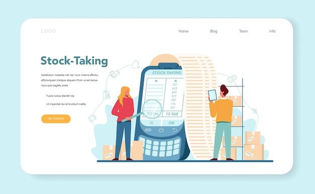 Verkoper stocktacking webbanner of bestemmingspagina