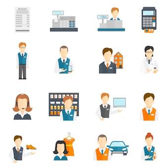 Verkoper zakencijfers pictogrammen platte set geïsoleerde vector illustratie