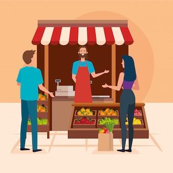 Verkopersmens met cliëntenillustratie, winkelopslag markt het winkelen handel kleinhandels koopt en betaalt