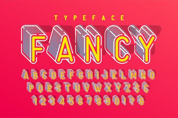 Verkort 3d-display lettertype popart-ontwerp