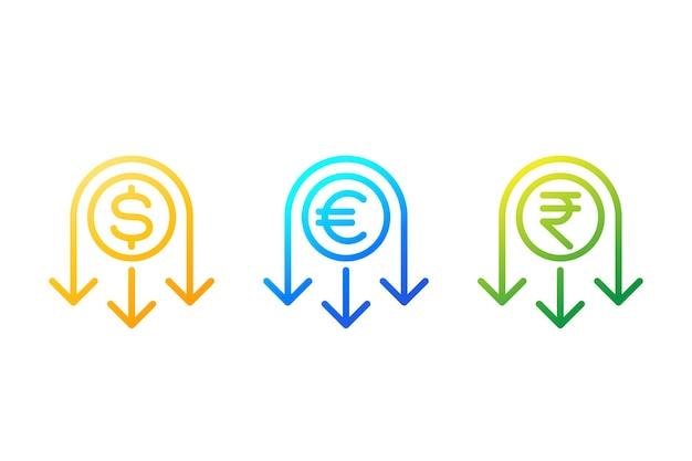 Verlaag het pictogram van de kostenlijn met dollar, euro en roepie
