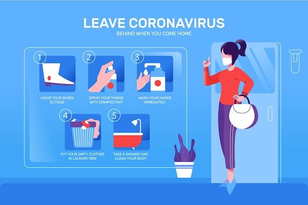 Verlaat de coronavirus infographic stijl