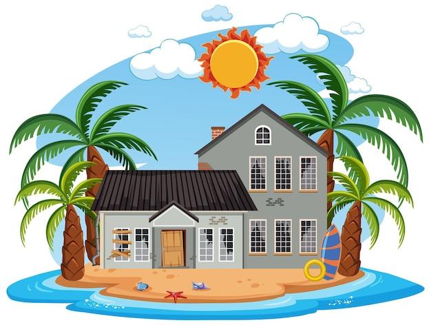 Verlaat het strandhuis op het eiland
