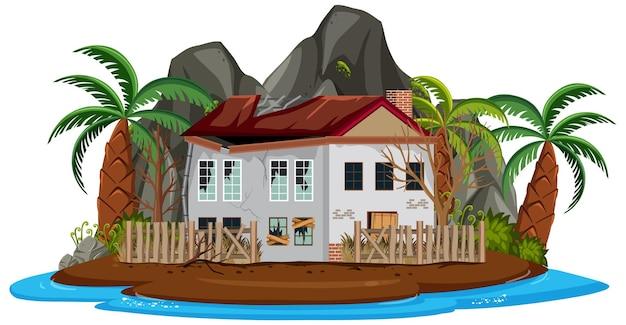 Verlaat huis op het eiland geïsoleerd