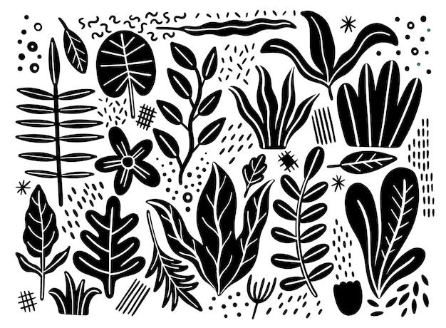 Verlaat platte set. tropische planten geïsoleerd op een witte achtergrond. aard eenvoudig groen bloemen. minimalistische stijlfantasie.