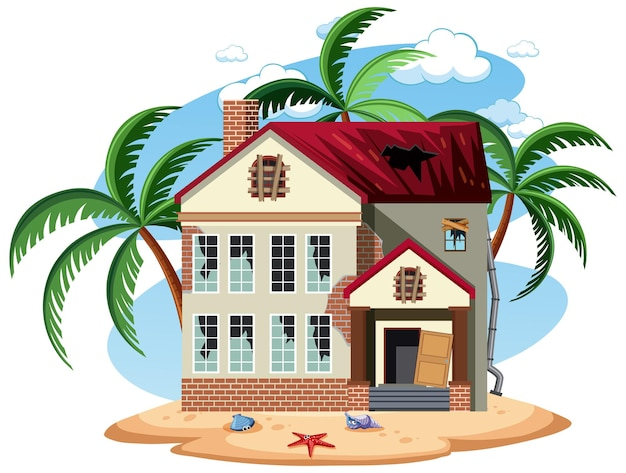 Verlaat strand vakantiehuis geïsoleerd