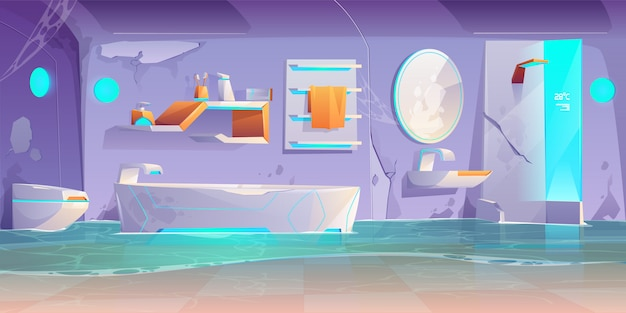 Verlaten futuristische badkamer, ondergelopen interieur