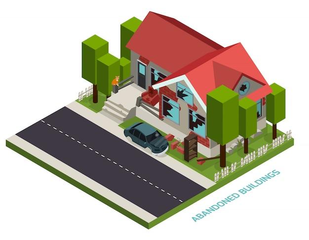 Verlaten gebouwen isometrisch