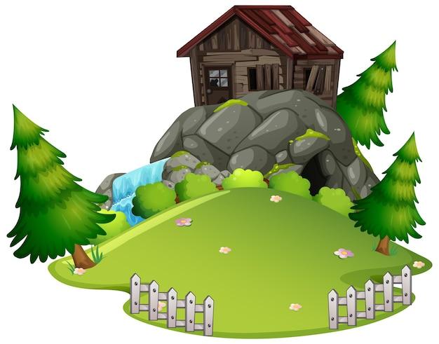 Verlaten oud huis op de berg