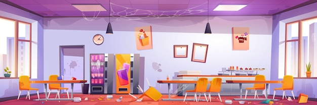 Verlaten schoolcafé