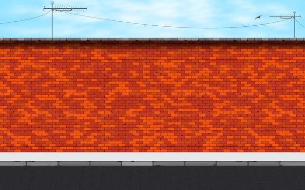 Verlaten straat op rode bakstenen muurachtergrond.