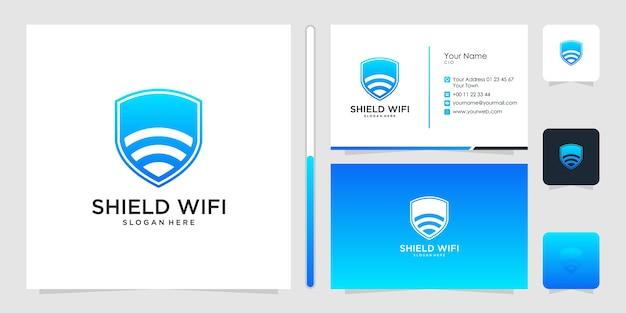 Verlegen wifi-logo-ontwerp en visitekaartje