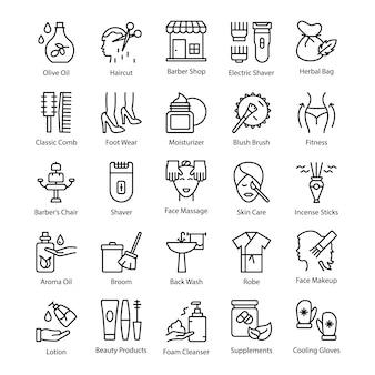 Verleidelijke pack van schoonheidssalon pictogrammen