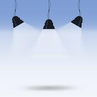 Verlicht door lampen. concept van het idee. vector afbeelding.