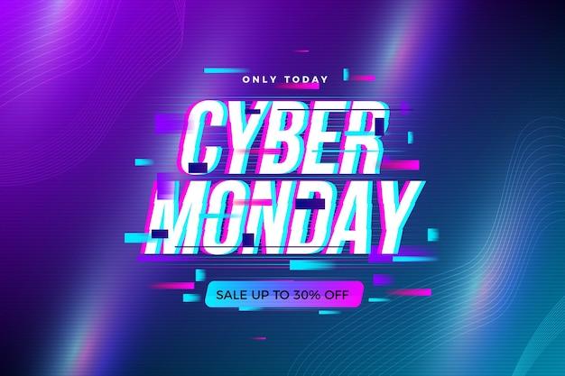 Verlicht grafische glitch cyber maandag