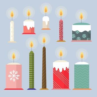 Verlicht kaarsen met schattige kerstontwerpen hand getrokken