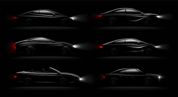Verlichte auto's in duisternis realistische 6 zwarte luxe auto's lampen verlicht set met cabriolet sedan hatchback