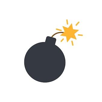 Verlichte bom, eenvoudige vectorillustratie in vlakke stijl