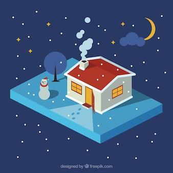 Verlichte huis achtergrond in de winterlandschap