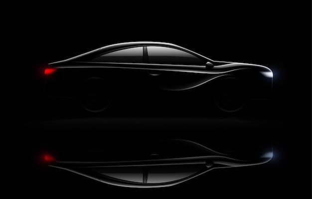 Verlichte luxe sedan auto in het donker met koplampen en achterlichten verlicht realistische beeldreflectie