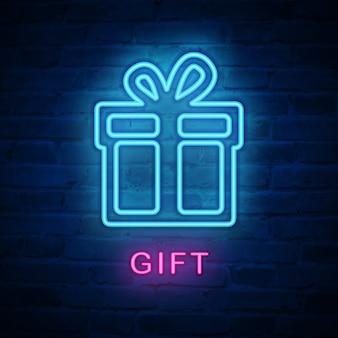 Verlichte neonlicht icoon cadeau aanwezig